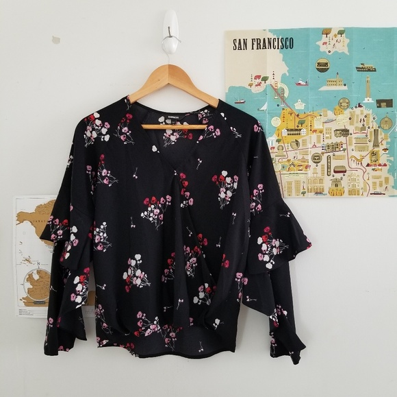 Express Tops - express • floral ruffle sleeve